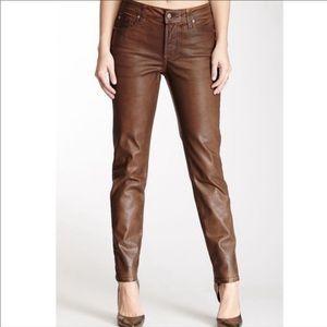 NYDJ Vegan brown leather pants, skinny fit, Small